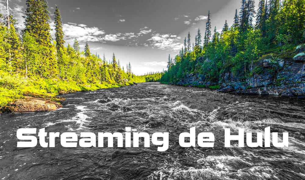 """Imagen de cielo, árboles y río con el cielo y el río en blanco y negro. Superposición de texto blanco que dice """"Hulu Streaming"""""""