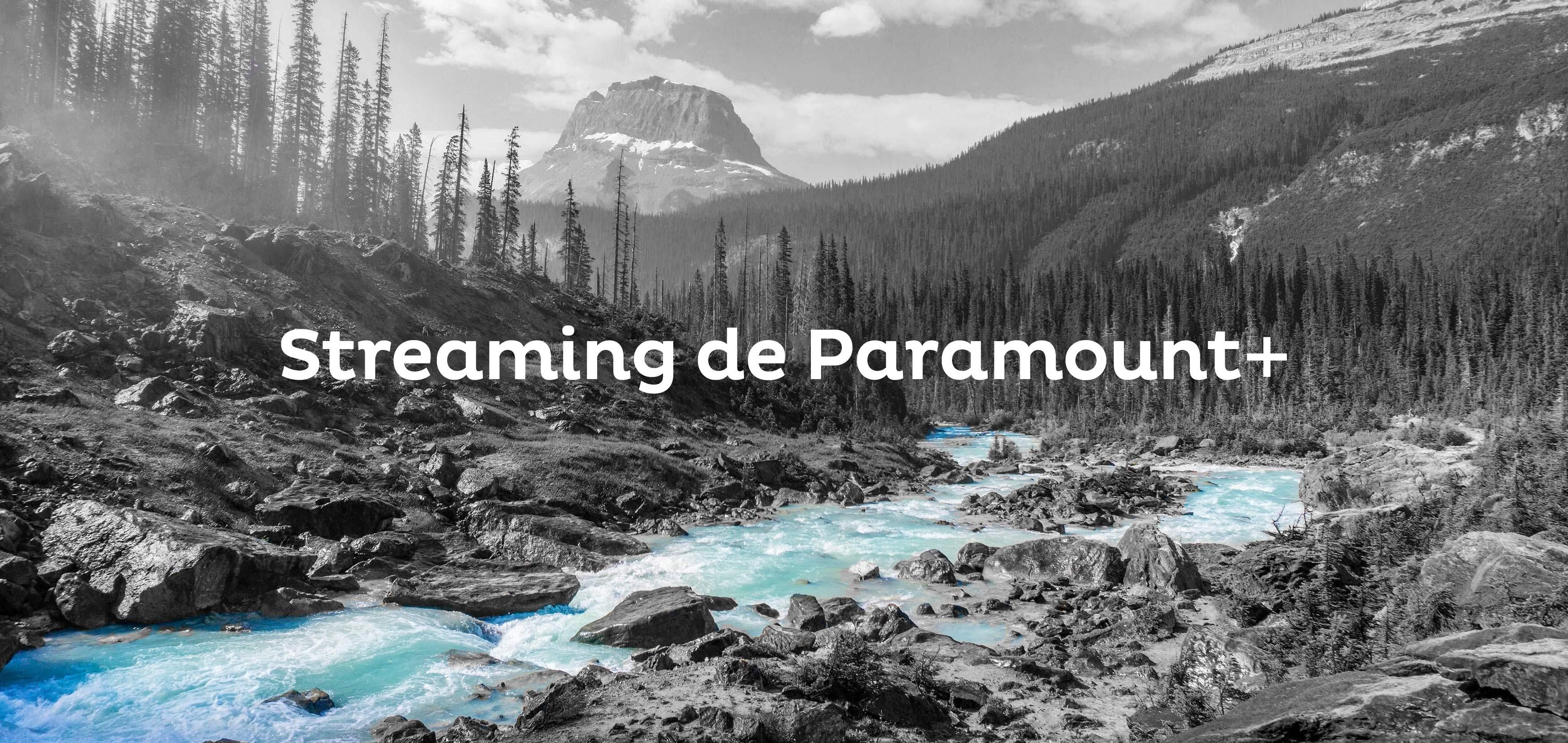 """Foto en blanco y negro de árboles y un arroyo azul con el texto """"Paramount+ Streaming"""" en blanco."""