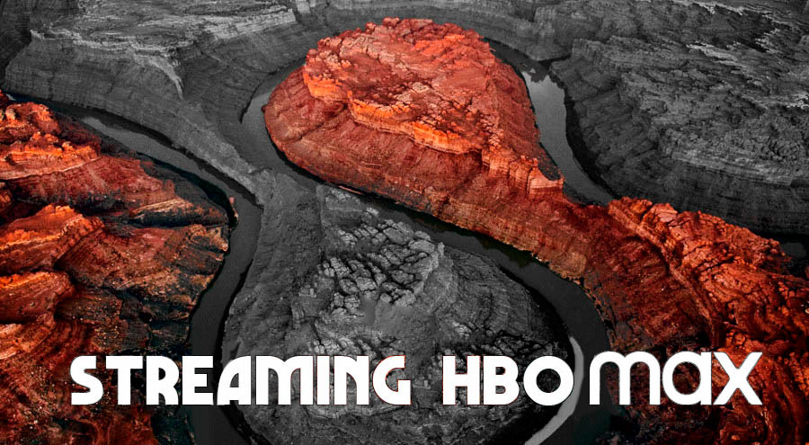 Photo of red and black stream with HBO Max text overlay