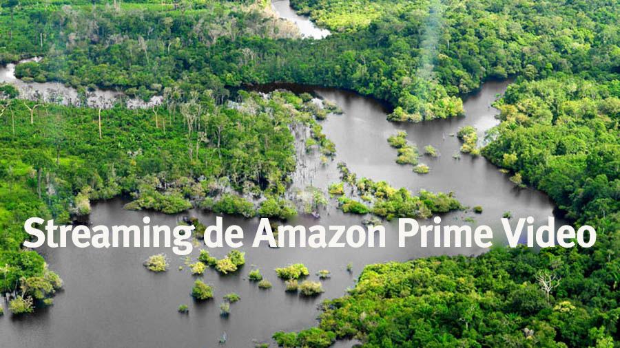 """Foto del Río Amazonas con el agua en gris con una leyenda en blanco que dice """"Streaming de Amazon Prime Video""""."""